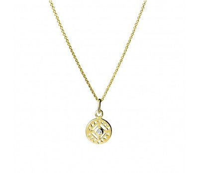 Detailed Circle Cubic Zirconia Necklace