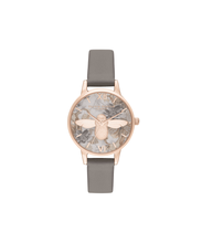 Load image into Gallery viewer, Floral Dial Rose Gold & Metallic Leather Watch with 3D Bee