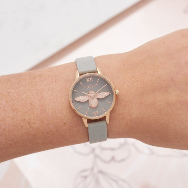 3D Bee Grey Dial & Rose Gold Watch