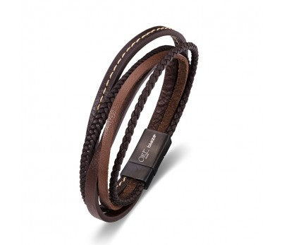 Brown Leather Multi & Stainless Steel Men's Bracelet