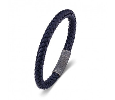 Blue Leather & Stainless Steel Wave Look Men's Bracelet