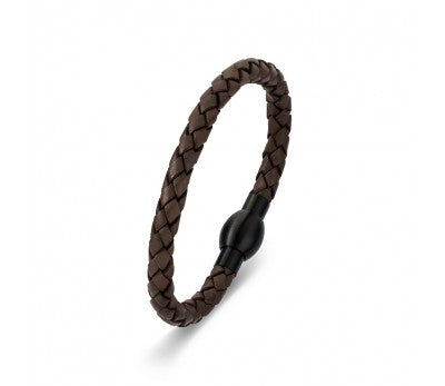 Brown Leather & Stainless Steel Men's Bracelet with Matte Black Clasp