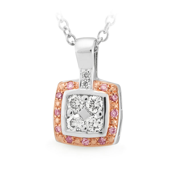 Pink Argyle & White Diamond Halo Pendant