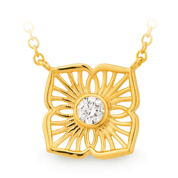 Diamond Floral Design Necklace