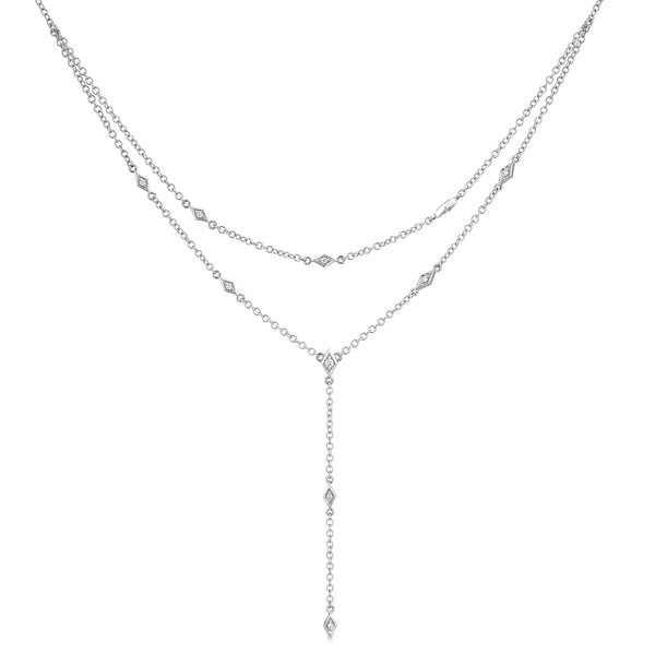 Diamond Layered White Gold Necklace