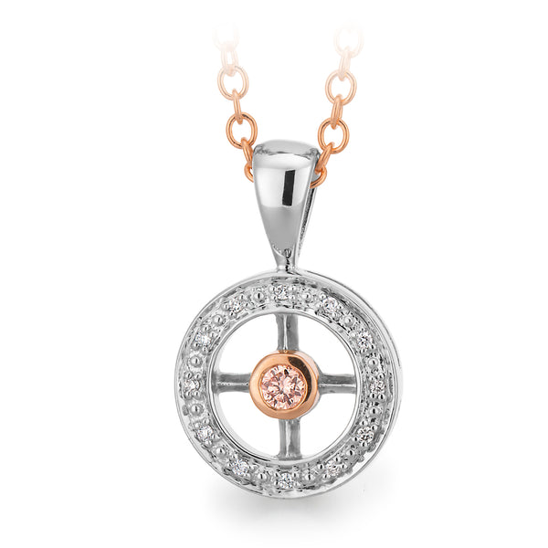 Circle Pink Argyle & White Diamond Pendant