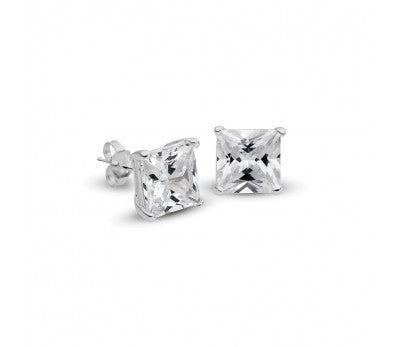 6mm Square Cubic Zirconia Stud Earrings