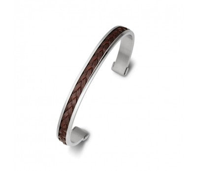 Stainless Steel Men's Cuff with Brown Leather Detail