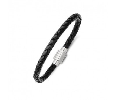 Black Leather & Stainless Steel Plain Men's Bracelet