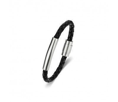Black Leather & Stainless Steel Men's Bracelet