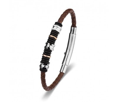 Brown Leather & Stainless Steel Men's Bracelet with a Beaded Feature