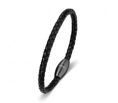 Black Leather & Gun Metal Stainless Steel Men's Bracelet