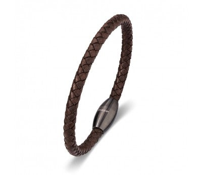 Brown Leather & Stainless SteelMen's Bracelet with Matte Gunmetal Clasp