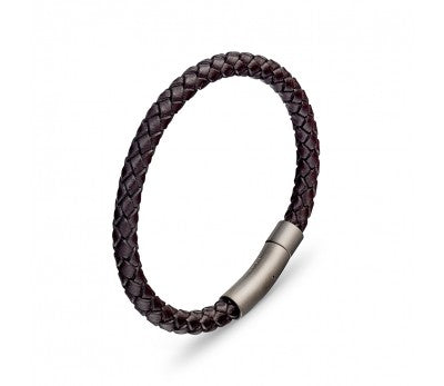Brown Leather & Stainless Steel Men's Bracelet