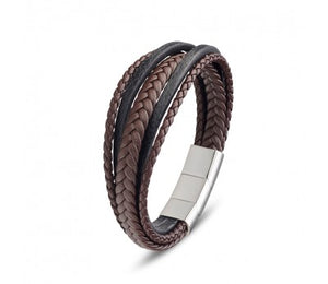 Brown/Black Multi Strand Leather & Stainless Steel Mens Bracelet
