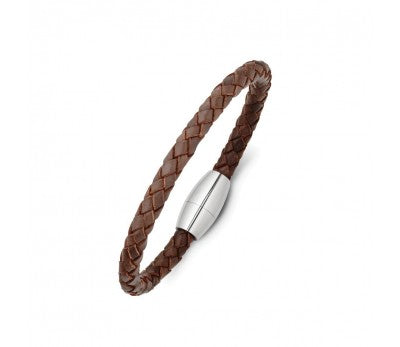 Brown Leather & Shiny Stainless Steel Men's Bracelet