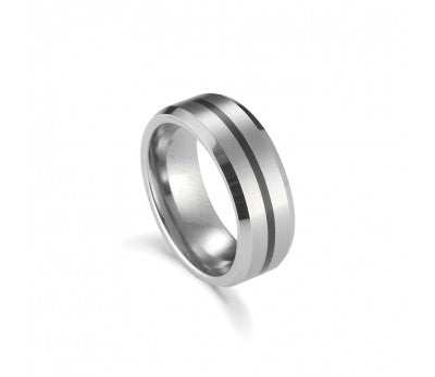 Men's Tungsten Ring with Black Detailing