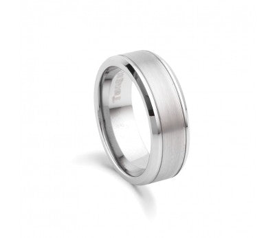 Men's Tungsten Matte & Polished Ring