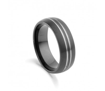 Men's Black Tungsten Ring with Silver Line Detail