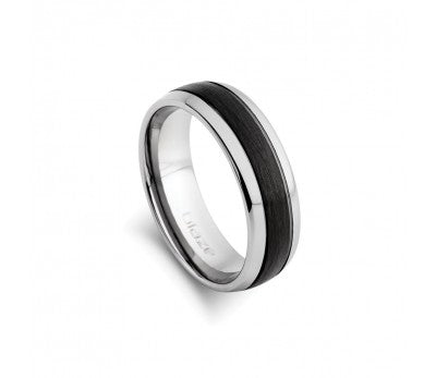 Men's Tungsten Ring with Black Centre