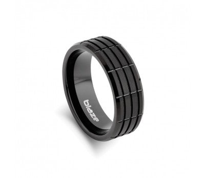 Men's Black Tungsten Line Patterned Ring