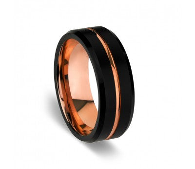 Men's Black Tungsten Ring with Rose Inlay and Detailing