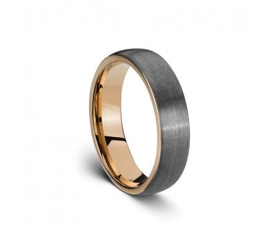 Men's Tungsten Ring with Rose Inlay