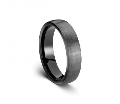 Men's Tungsten Ring with Black Inlay
