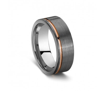 Men's Tungsten Ring with Rose Detailing