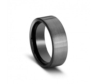 Men's Grey Tungsten Ring with Black Inlay