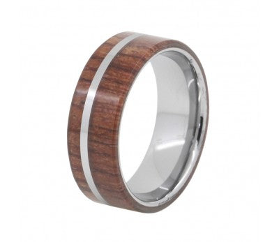 Mens Wood Inlay Tungsten Ring