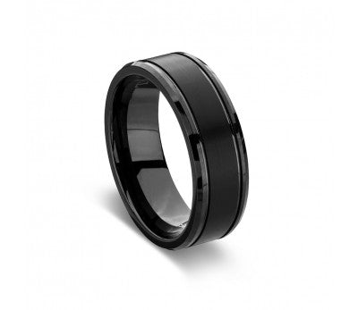 Men's Matte Black Tungsten Ring
