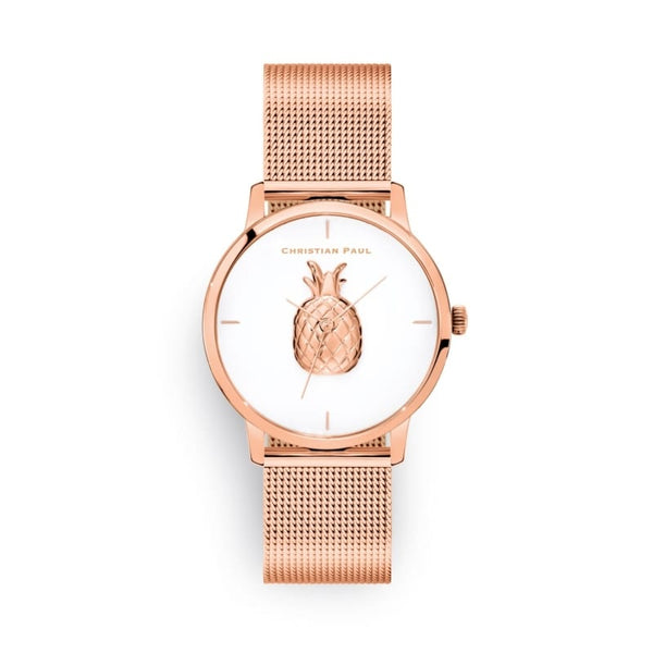 Ava Rose Gold Mesh Pineapple Watch