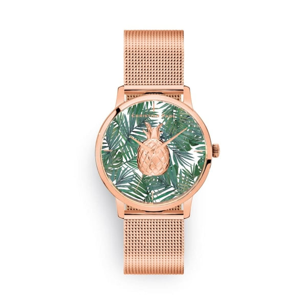 Olive Rose Gold Mesh Pineapple Watch