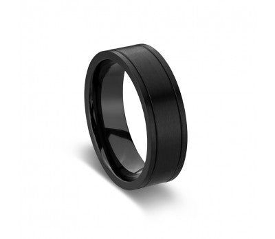 Men's Matte Black Zirconium Ring