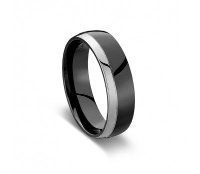 Men's Shiny Black Zirconium Ring With Silver Detail