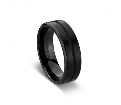 Men's Black Zirconium Ring With Centre Cut Out