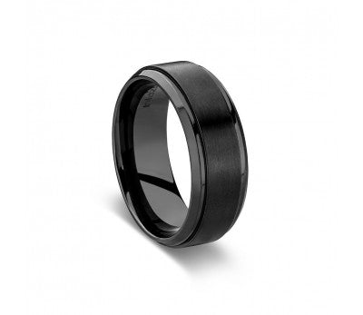 Men's Black Zirconium Ring with Rounded Edging