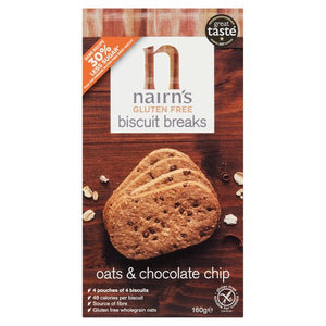 Nairn's Gluten Free Oat & Chocolate Chip Biscuit Breaks 160g