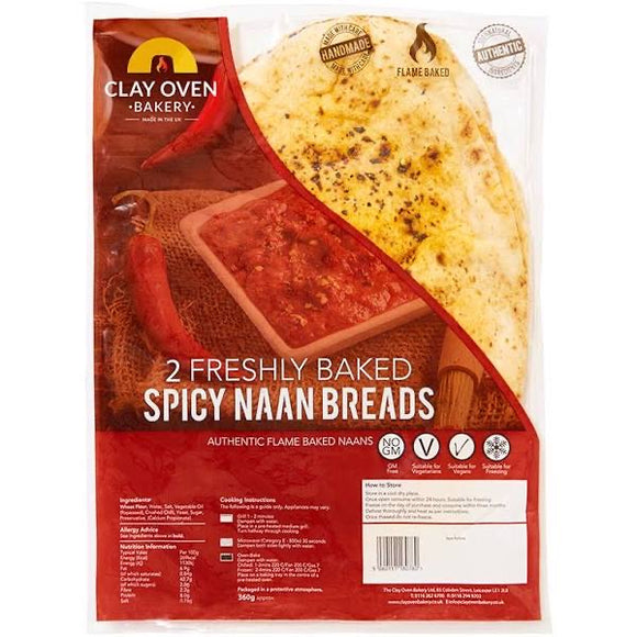 The Clay Oven Bakery Spicy Naan Bread 360g