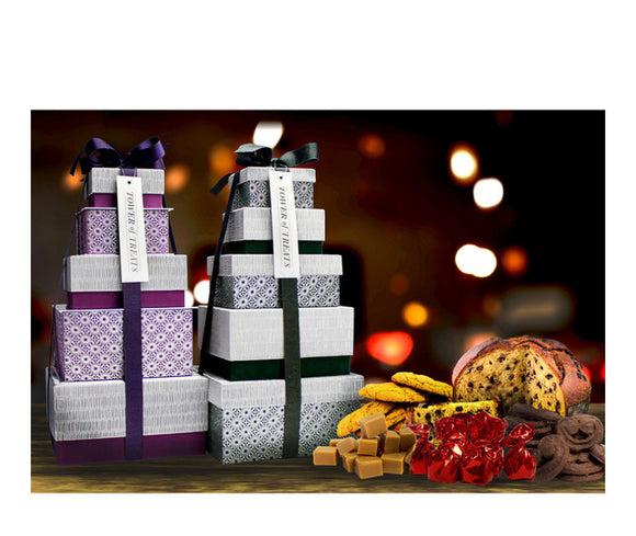Festive Tower of Treats in 2 Colours ( Green or Purple )