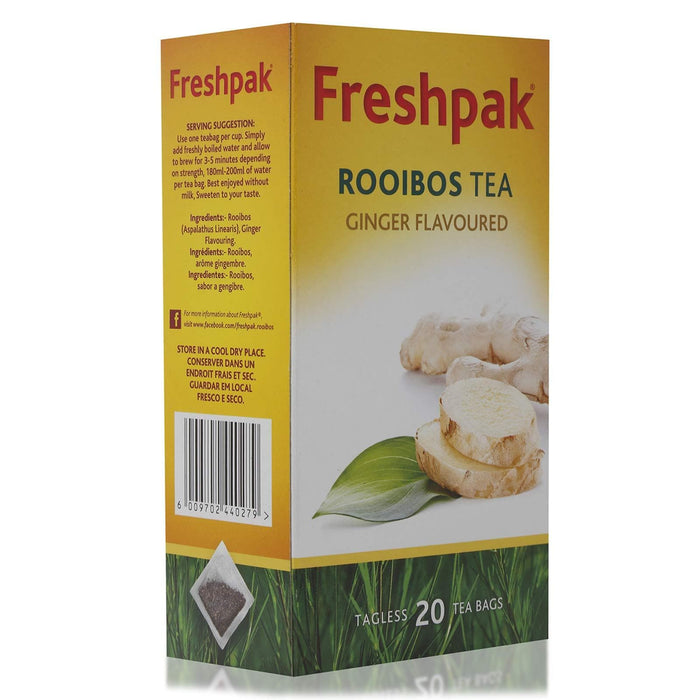 Freshpak Rooibos Ginger Flavor Infusion (20 bags) from South Africa - AUBERGINE FOODS Canada