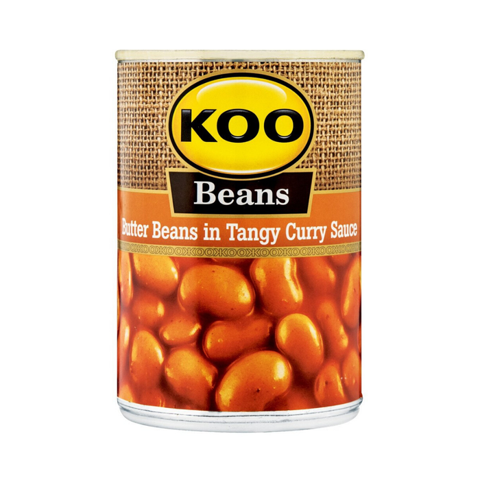 KOO Butter Beans in Tangy Curry  (410 g) from South Africa - AUBERGINE FOODS Canada