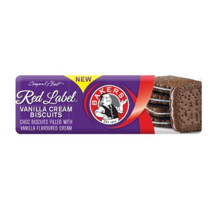 Bakers Red Label Biscuits Vanilla Cream (200 g) from South Africa - AUBERGINE FOODS Canada