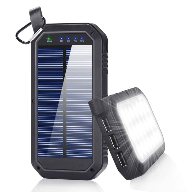20000 MAh Solar Wireless Power bank Charging & Flashlight - Waterproof