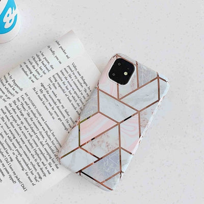 White Geometric Marble Phone Case - Gadgets Center