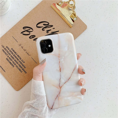 White Marble Slim Shockproof Case - Gadgets Center