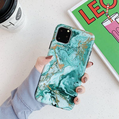 Green Matte Marble Case - Gadgets Center