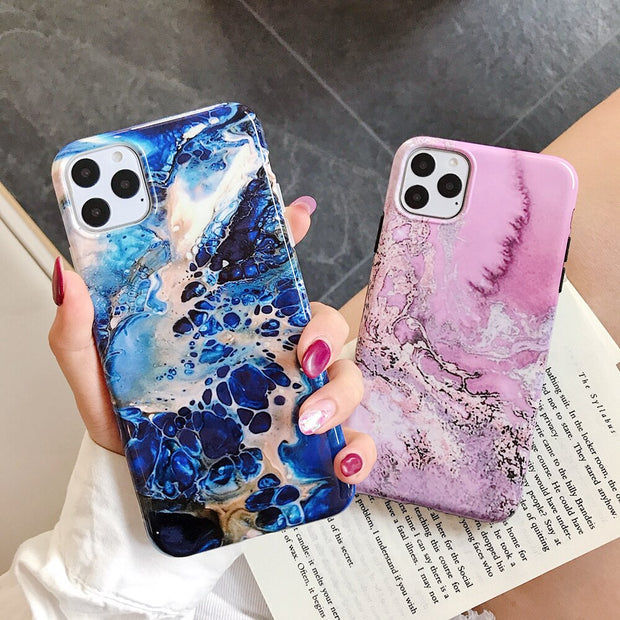 Blue Granite Marble Cases - Gadgets Center