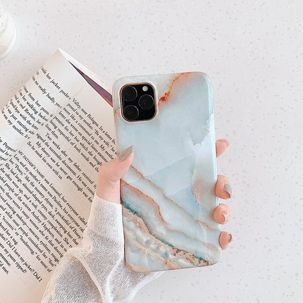 Blue Glossy Marble Phone Cases - Gadgets Center
